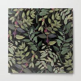 Leaves in Dark Metal Print