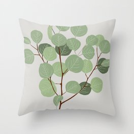Silver Dollar Eucalyptus  Throw Pillow