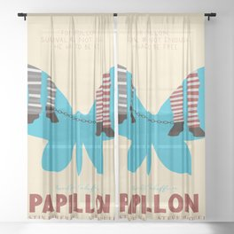 Papillon, Steve McQueen vintage movie poster, retrò playbill, Dustin Hoffman, hollywood film Sheer Curtain