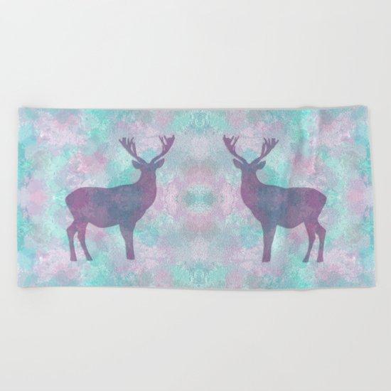 Deer Silhouette Beach Towel
