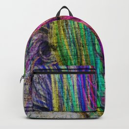 Colorful pink teal watercolor abstract grunge pattern Backpack