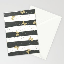 Butterfly Christmas seamless pattern Gold Confetti Dark Gray White Stripes Stationery Cards