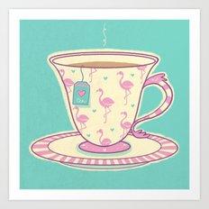 Flamingo tea Art Print