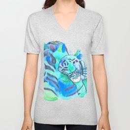 Cuddling Tigers - Tropical Turquoise Unisex V-Neck