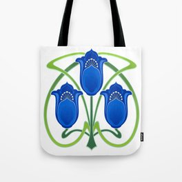 Three Blue Art Nouveau Flowers Tote Bag