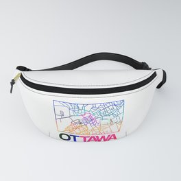 Ottawa Watercolor Street Map Fanny Pack