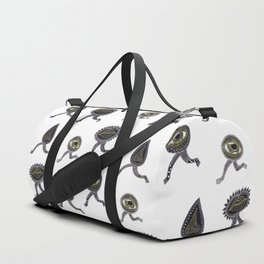 running surreal eyes mouth and nose creatures Duffle Bag