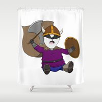 badger Shower Curtains featuring Battle Badger by Ethrinity