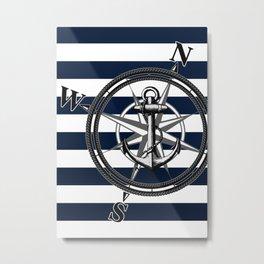 Navy Striped Nautica Metal Print
