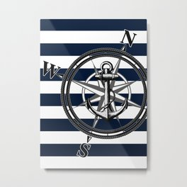Navy Striped Nautica Metal Print