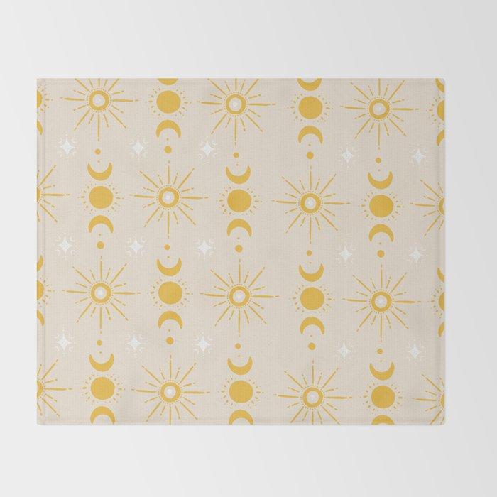 Yellow Sun & Moon Pattern Throw Blanket