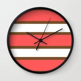 Chocolate Brown + Coral:  Stripe Stripe Wall Clock