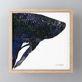 Betta Fighting Fish Head Purple Framed Mini Art Print