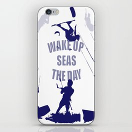 Wake Up Seas The Day Kiteboarder In Blue Shades iPhone Skin