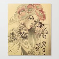 mucha Canvas Prints featuring mucha chicano by Paolo Zorzenon