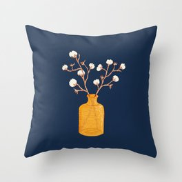 Still life - Cotton branches in a ochre vase Throw Pillow