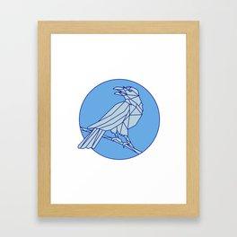Crow Perching Looking Side Circle Mono Line Framed Art Print