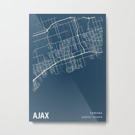 Ajax Blueprint Street Map, Ajax Colour Map Prints Metal Print