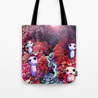 kodama Tote Bags featuring Kodama by the Stream by pkarnold + The Cult Print Shop