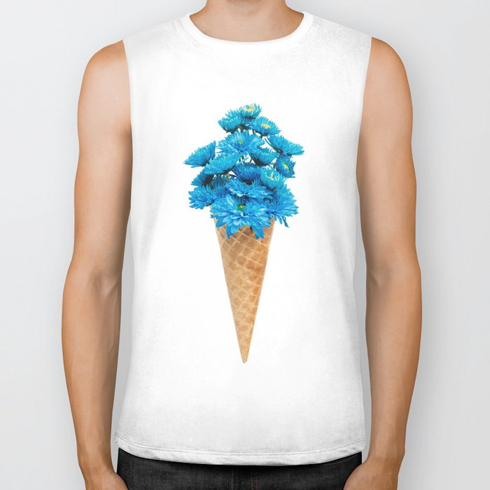 Blue Chrysanthemum in Ice Cream Cone Biker Tank