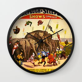1899 Forepaugh & Sells Brothers Combined Circus Elephant Poster Wall Clock