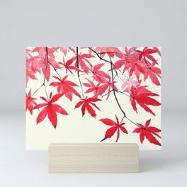 red maple leaves watercolor painting Mini Art Print