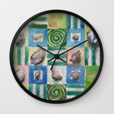 Shell and stripes Wall Clock