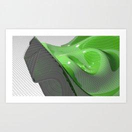Waving green mathematical surface Art Print