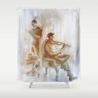 221b Shower Curtains featuring [ 221B ] Baker Street - sherlock holmes & john watson by AkiMao