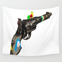 hippy Wall Tapestries featuring HIPPY GUN by kasi minami