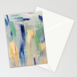 Calm blue fire: minimal, acrylic abstract art in indigo, teal and rose gold / Original Painting Stationery Cards
