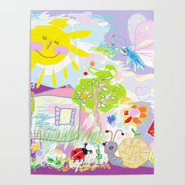 My happy world Doodle for children room Nursery home decor Poster