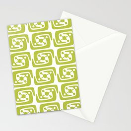 Mid Century Modern Galaxy Pattern 121 Chartreuse Stationery Cards