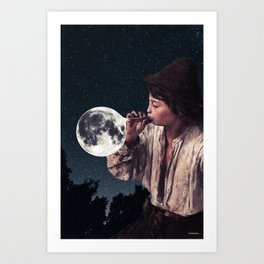 Blowing moon bubbles ... Art Print