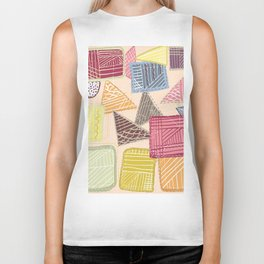 Colorful square abstract pattern Biker Tank