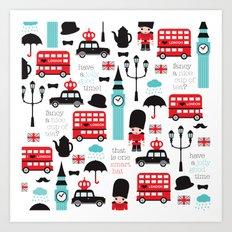 London icons illustration pattern print Art Print