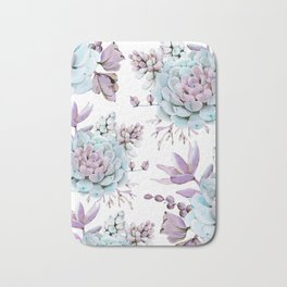 Turquoise and Violet Succulents Bath Mat