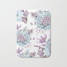 Turquoise and Violet Succulents Bath Mat