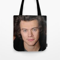 harry styles Tote Bags featuring Harry Styles by behindthenoise