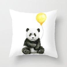 Panda Watercolor Animal with Yellow Balloon Nursery Baby Animals Throw Pillow