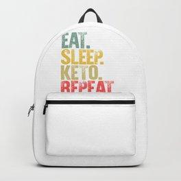 Eat Sleep Repeat Shirt Eat Sleep Keto Repeat Funny Gift Backpack