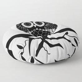 Graphic vector owl on branch in B&W Floor Pillow