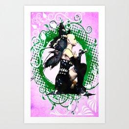 Blue Butterfly Fairy Sitting Art Print