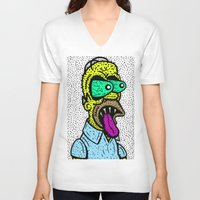 homer V-neck T-shirts featuring HOMER GRIMMSON.  (THE GRIMMSONS). by Dave Bell