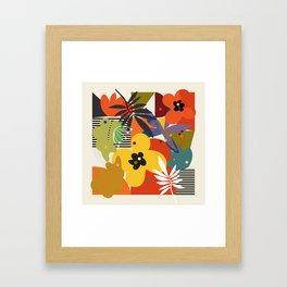 mid century minimal plant leaves Framed Art Print