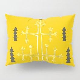 Folk cat on yellow Pillow Sham