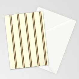 Cream and Brown Stripes Stationery Cards