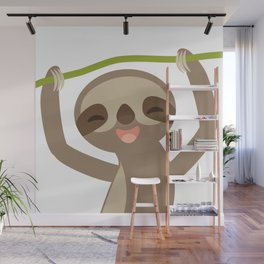 funny and cute smiling Three-toed sloth on green branch Wall Mural
