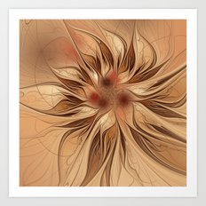 Fractal Flower - Beige Art Print