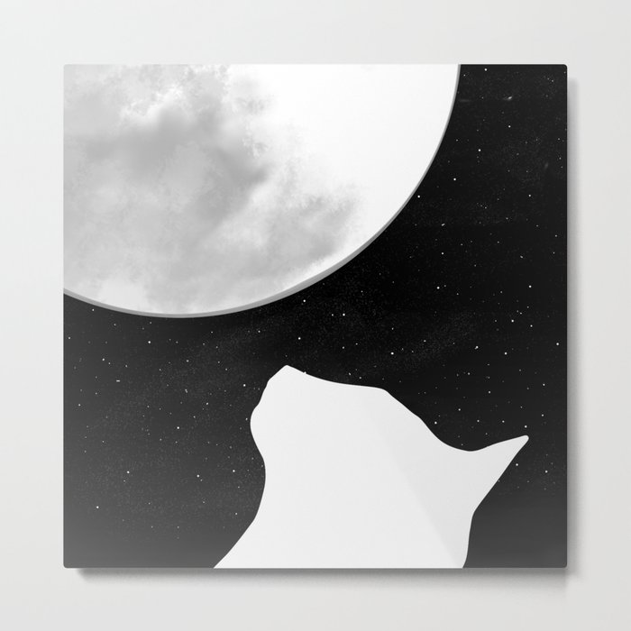 Black And White Dreaming Cat and Moon Design Metal Print